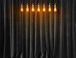 Vintage lightbulbs on velvet curtains background