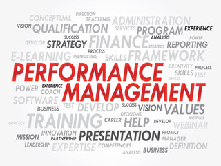 Word cloud of Performance Management related items, vector
