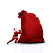 Santa pushing huge sack. Isolated on white. - 73976597