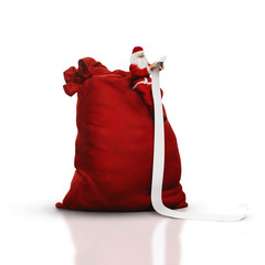 Santa sitting on big sack and reading long list