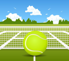 Vector illustration of Tennis ball and net
