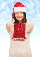Santa woman with gift box