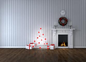 Комната с камином и подарками