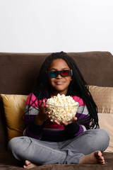 young girl watching 3d movie
