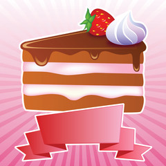 sweet piece of chocolate cake with strawberries and cream