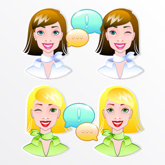lovely blonde and brunette girl smiling and winking. vector illu