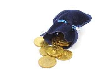A ten coins in bag