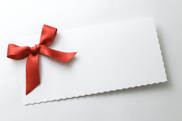 Christmas blank card with ribbon