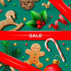 Christmas sale poster, vector illustration.