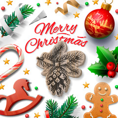 Merry Christmas festive background with Christmas decoration