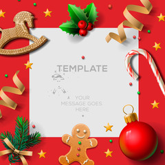 Merry Christmas festive template with gingerbread men