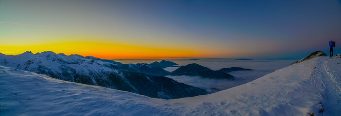 Sunset in mountains above clouds - Tatra Mountains in Poland