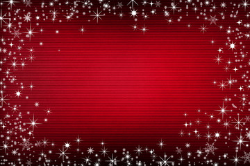 Red canvas background with snow and stars