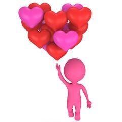 Sweet man in love flying by big heart
