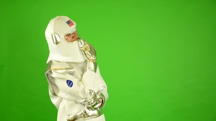 astronaut thinking - green screen