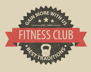 fitness club emblem vector illustration, eps10, easy to edit