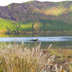 Boat in autumn lake