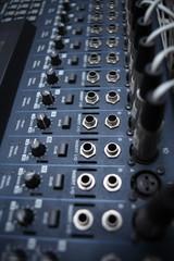Recording studio equipment. Professional audio mixing console.