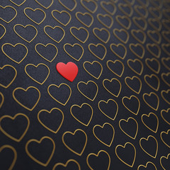 Red and golden hearts on dark background,Wedding