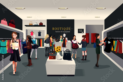 Inside modern clothing store - 73979728
