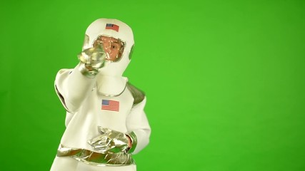 astronaut point to camera - green screen
