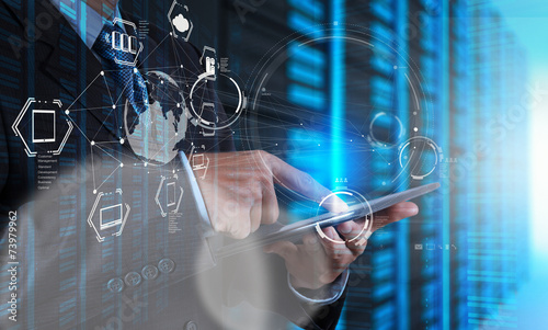 Double exposure of businessman shows modern technology as concep - 73979962