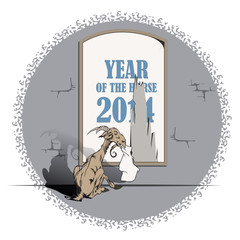 Vector goat, the symbol of 2015, the year the horse eats poster