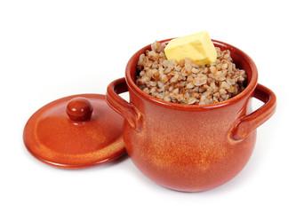 Гречневая каша с маслом в глиняном горшочке