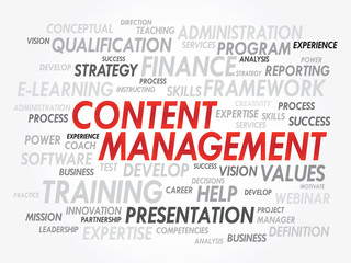 Word cloud of Content Management related items, vector