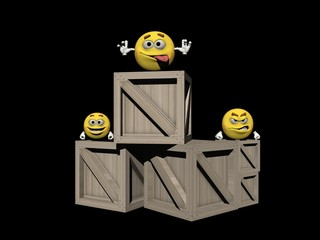 Several emoticon on boxes - 3d render