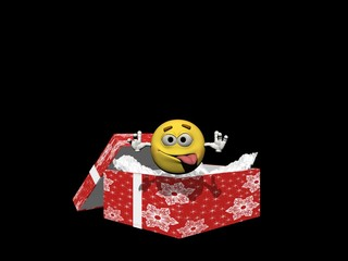 emoticon in a Christmas present - 3d render