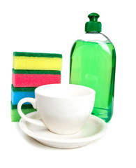 dishwashing tools and clean cup