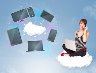Young girl sitting on cloud enjoying cloud network service