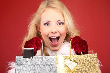 Christmas, woman and gift bags