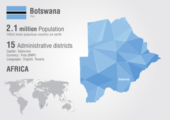 Botswana world map with a pixel diamond texture.