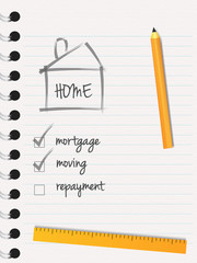 Paper page with pencil and mortgage home payment