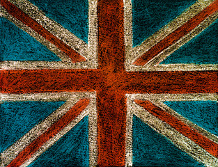 United Kingdom (British Union jack) flag, chalk hand drawing