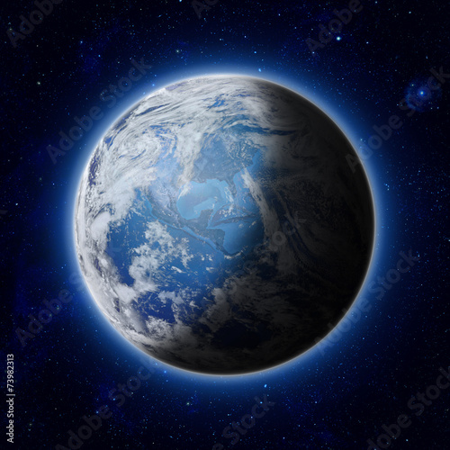 Leinwanddruck Bild Blue Planet Earth, Global World with clouds, star in sky, space.