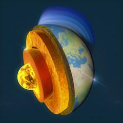 Nucleo, sezione strati terra e cielo, spaccato, geofisica