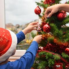 Addobbando l'albero di Natale