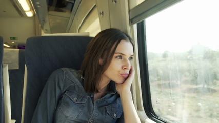Sad, beautiful woman looking through the window on a train