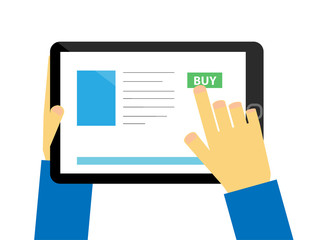 Flat design tablet with hands