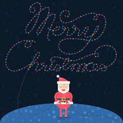 Merry Christmas illustration. Christmas card with Santa Claus.