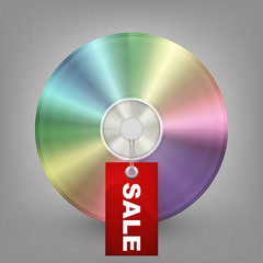 Blue-ray, DVD or CD disc with label sale. Vector illustration