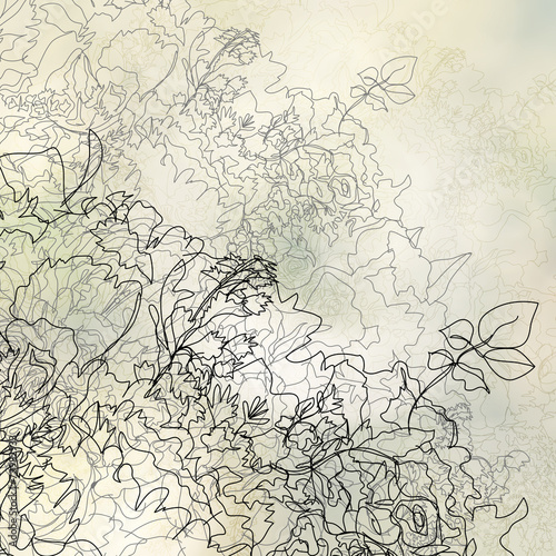 hand drawn abstract flowers on blurred flower background © everythingpossible