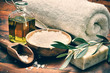 Spa setting with natural olive soap - 73983198