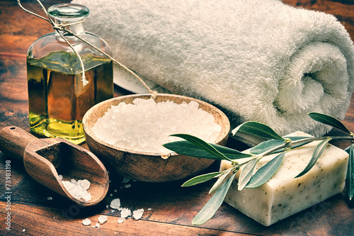 Spa setting with natural olive soap