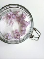 Glass jar of white sugar