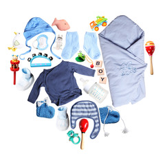 clothes and accessories for babies in heart shape