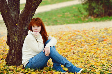 redhead girl in fall
